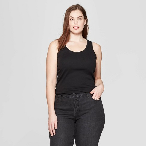 9e163c294c7 Women s Plus Size Sleeveless Scoop Neck Rib Racerback Tank Top - Universal  Thread™ Black 4X   Target