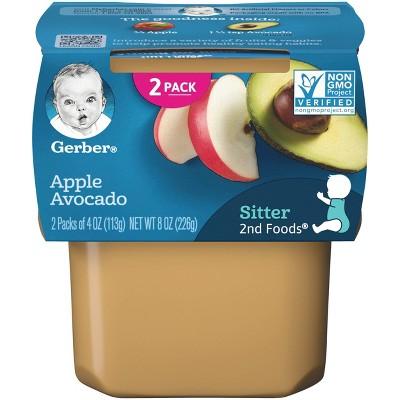 Gerber Sitter 2nd Foods Apple Avocado Baby Meals - 2ct/4oz Each