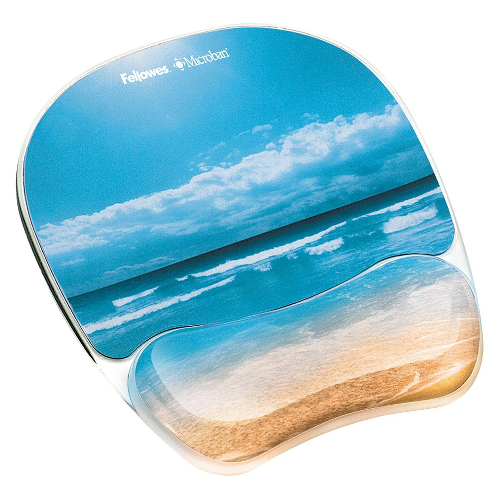 Fellowes Photo Gel Mouse Pad Wrist Rest with Microban - Sandy Beach, Turquoise