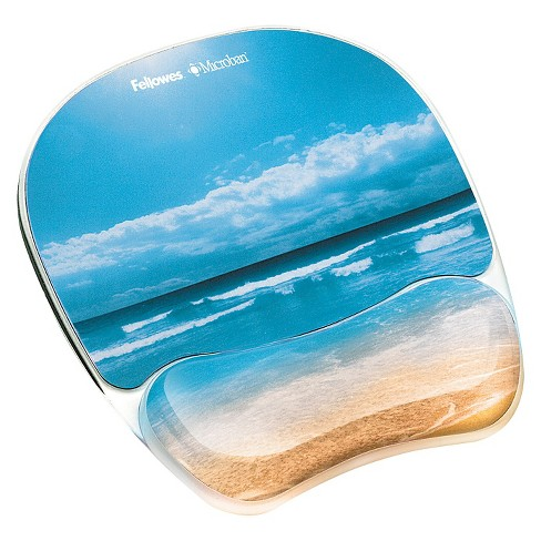 fellowes photo gel mouse pad wrist rest with microban sandy