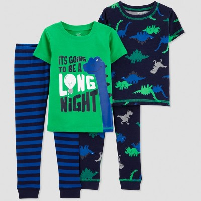 Toddler Boys' 4pc Long Night Dino Pajama Set - Just One You® made by carter's Green 3T
