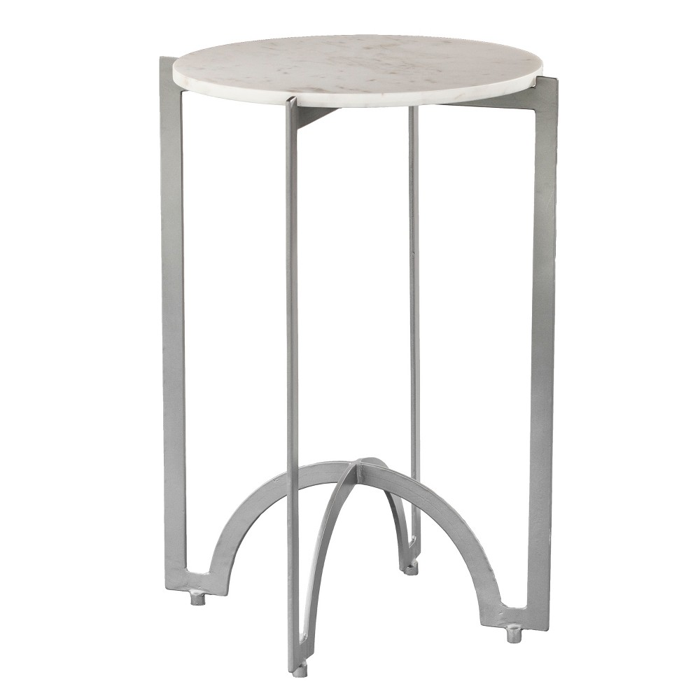 Shanley Round Metal Accent Table White - Aiden Lane