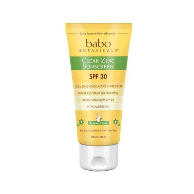 Babo Botanicals Clear for Babies Fragrance Free Zinc Sunscreen Lotion - SPF 30 - 3 fl oz