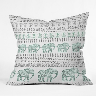 Green Elephants Throw Pillow - Deny Designs