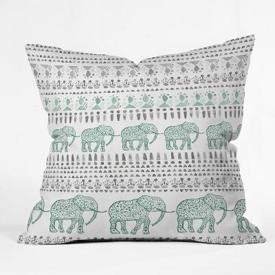 Green Elephants Throw Pillow - Deny Designs