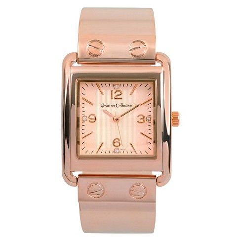 Women's Journee Collection Square Face Solid Metal and Link Watch - RoseGold - image 1 of 2