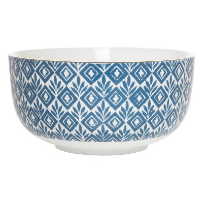 Clay Art Bowl 32oz Porcelain - Blue Block Print