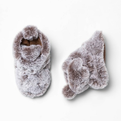 Baby Faux Fur Fuzzy Bootie Slipper - Cat & Jack™ Brown 0-3M