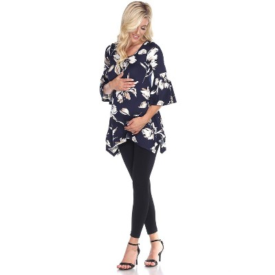Maternity Floral Printed 3/4 Sleeve Roche Tunic - White Mark