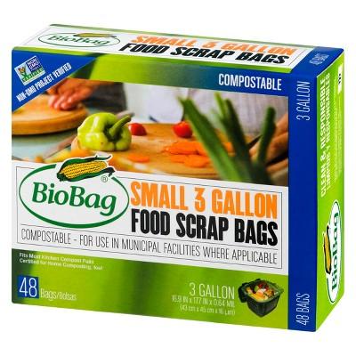 BioBag Compostable Food Scrap Small Kitchen Trash Bags - 3 Gallon - 48ct