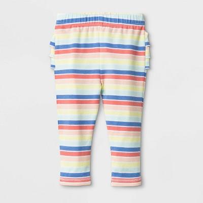 Baby Girls' Ruffle Bum Stripe Leggings - Cat & Jack™ Rainbow 0-3M