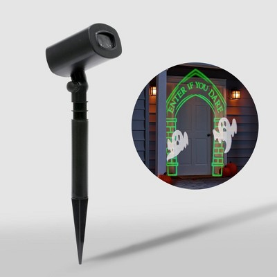 """Philips Green """"Enter If You Dare"""" Archway (with White Fading Ghosts) LED Halloween Projector"""