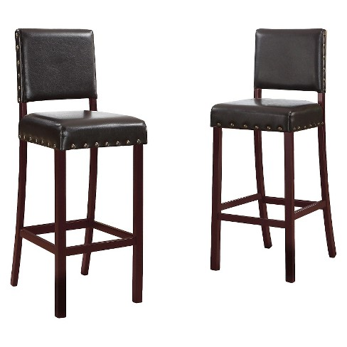 Walter Modern Bar Stool - Dark Brown (Set of 2) - Baxton Studio - image 1 of 2