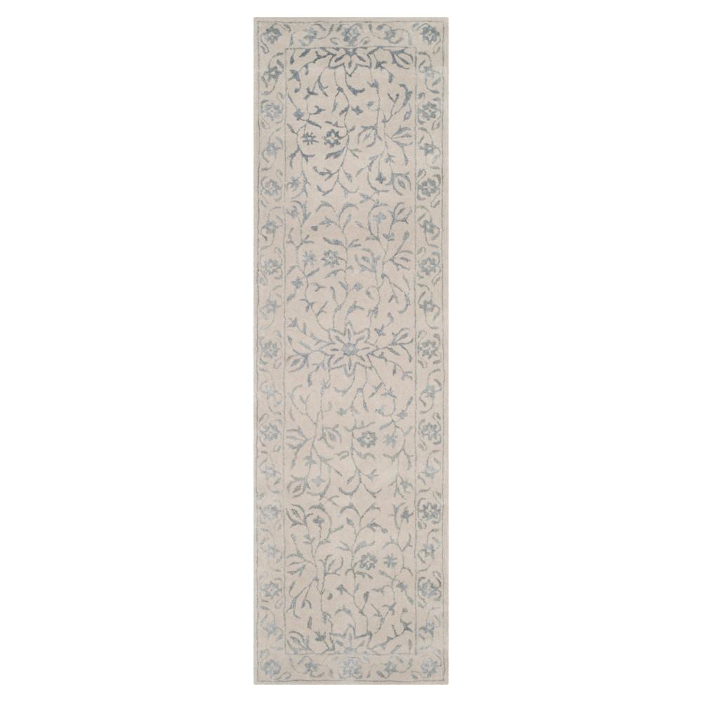 Silver/Ivory Botanical Loomed Runner - (2'3X8' Runner) - Safavieh, Silver White