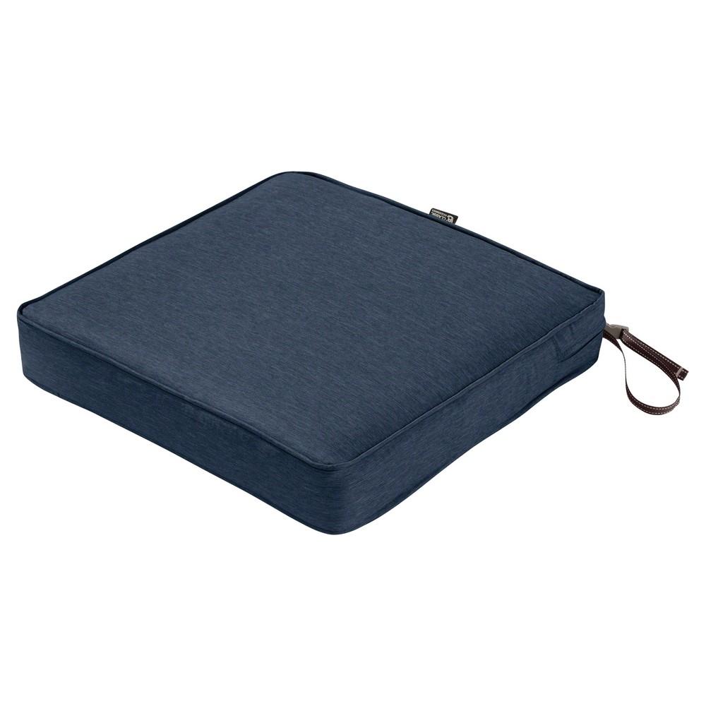 Montlake Fadesafe Square Patio Dining Seat Cushion Set - Heather Indigo Blue - Classic Accessories