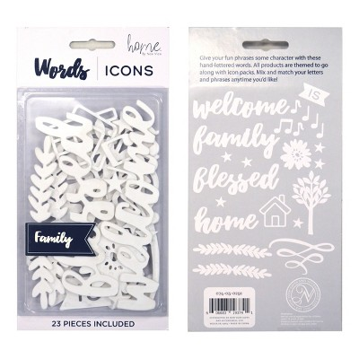 Decorative Wall Art Set Words or Icons 5 Family - Home