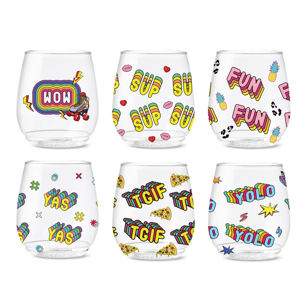 Image of 14oz Good Vibes Printed Vino Wine Glasses - TOSSWARE