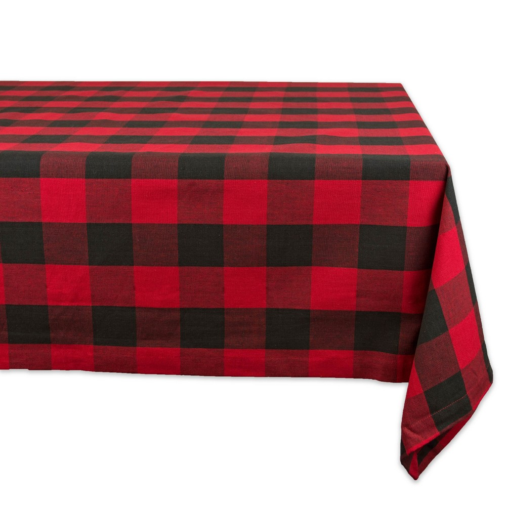 "Image of ""120""""x60"""" Buffalo Check Tablecloth Black/Red - Design Imports"""