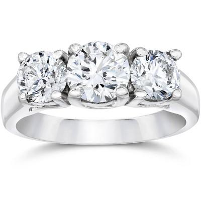 Pompeii3 1ct Three Stone Diamond Ring 14K White Gold