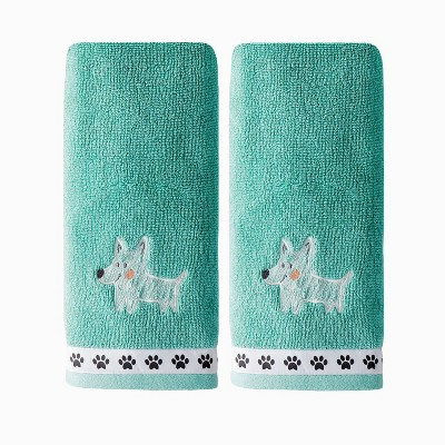 2pc Scribble Pup Hand Towel Set Jade - SKL Home