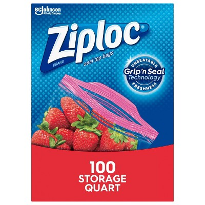 Ziploc Storage Quart Bags with Grip 'n Seal Technology - 100ct