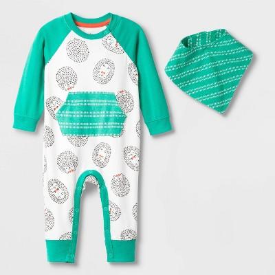 Baby Boys' Short Sleeve Hedgehog All Over Print Romper - Cat & Jack™ Green Newborn
