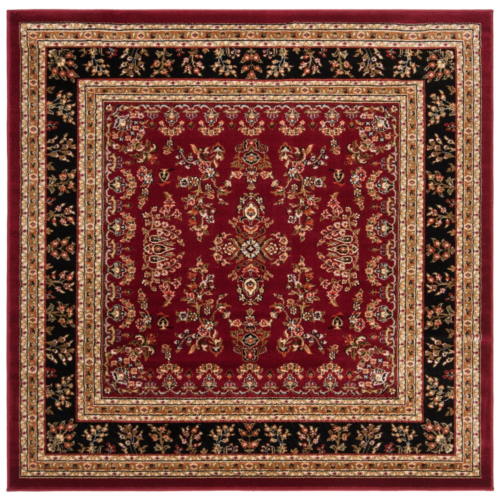 6'X6' Loomed Floral Square Area Rug Red/Black - Safavieh