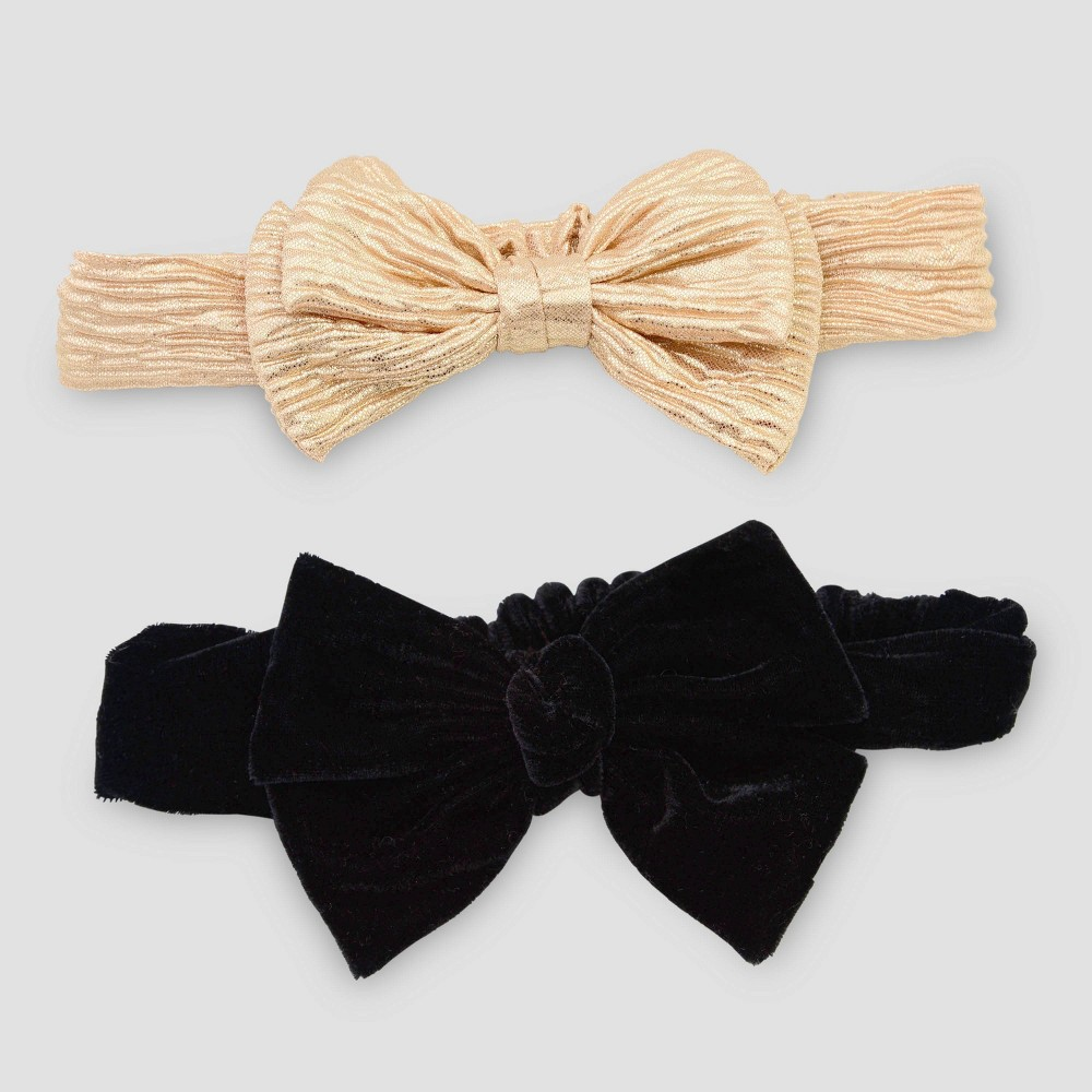 Image of Baby Girls' 2pk Headband - Just One You made by carter's Gold/Black One Size