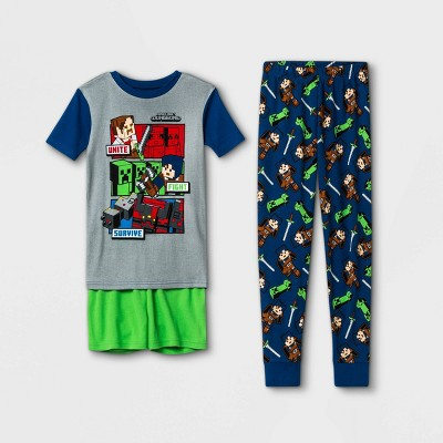 Boys' Minecraft 3pc Pajama Set - Blue/Green