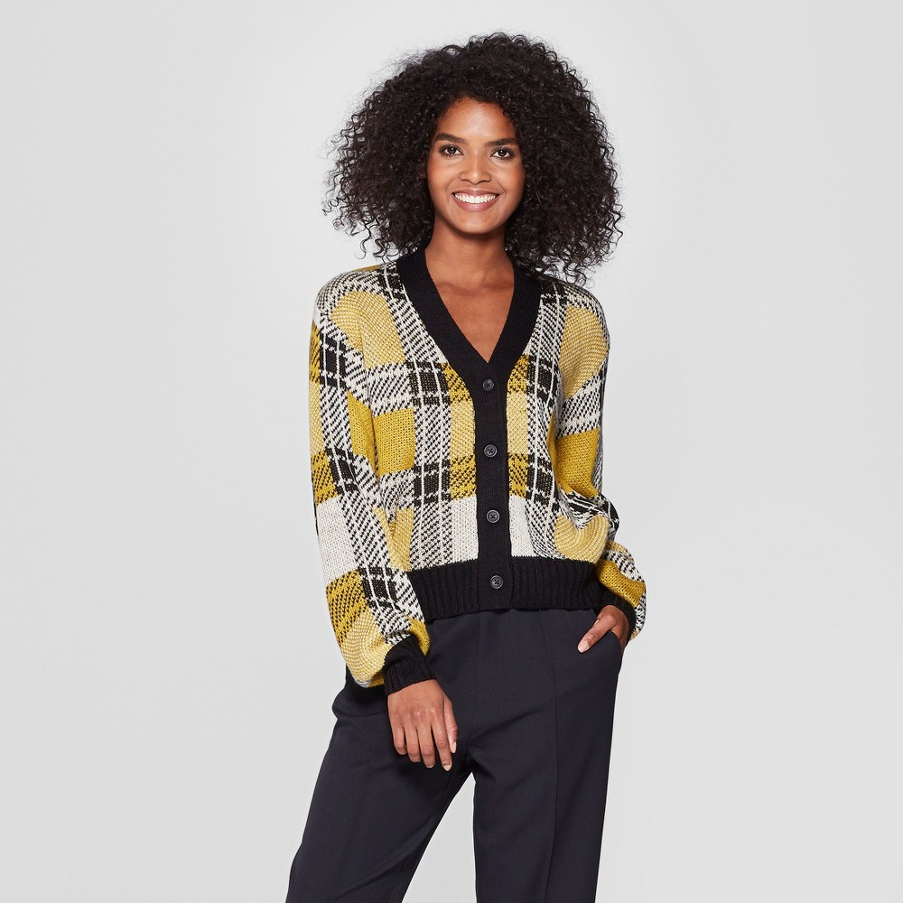 Women's Plaid Long Sleeve Cardigan - Who What Wear Yellow/Black L