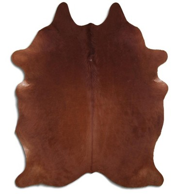 Deerlux Brazilian Genuine Natural Leather High Quality Real Hair on Cowhide Rug, Brown