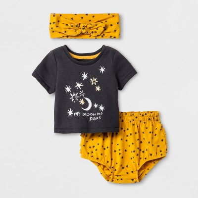 Baby Girls' 3pc T-Shirt, Bloomer and Headwrap Set - Cat & Jack™ Black/Gold 6-9M