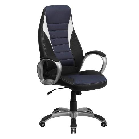 Executive Swivel Office Chair Blue Mesh Inserts/Black Vinyl - Flash Furniture - image 1 of 4