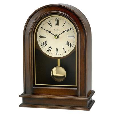 Bulova Clocks B7467 Hardwick Decorative Battery Powered Wooden Desk and Table Top Pendulum Clock, Walnut