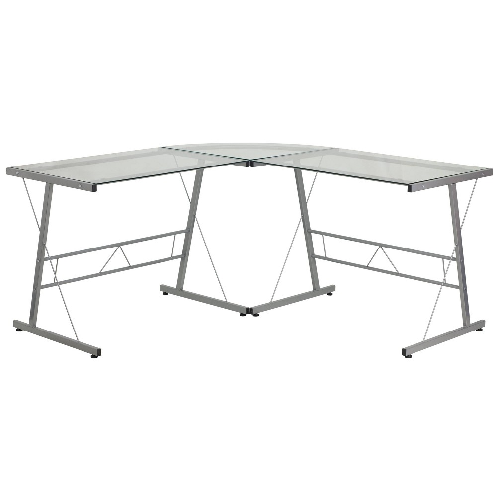 Glass L-Shape Computer Desk with Silver Frame Finish - Flash Furniture, Clear