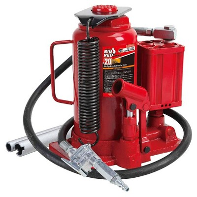 Big Red TOR-TA92006 Heavy Duty Auto Pneumatic Air Hydraulic Bottle Jack with 40,000 Pound Load Capacity and Manual Hand Pump for Heavy Machinery, Red