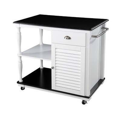 Denrard Rolling Kitchen Island with Storage White/Black - Aiden Lane