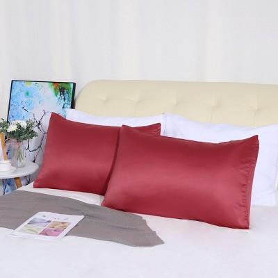 "4 Pcs Queen 20""x30"" Silk Satin Luxury Cooling Pillowcase Burgundy  - PiccoCasa"