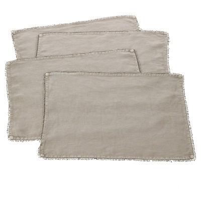 "(Set of 4)Gray Natural PomPom Design Placemat 14""x20"" - Saro Lifestyle"