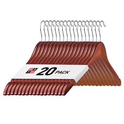 OSTO Premium Wooden Suit Hangers with Rubber Grips, Smooth Finish, Swivel Hook, Notches, and Nonslip Grip