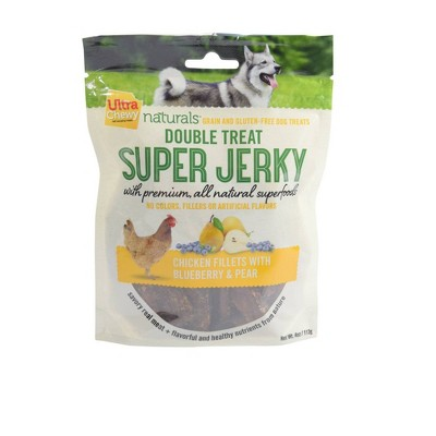 Ultra Chewy Naturals Super Jerky Chicken Fillets with Blueberries and Pears Dry Dog Treats - 4oz