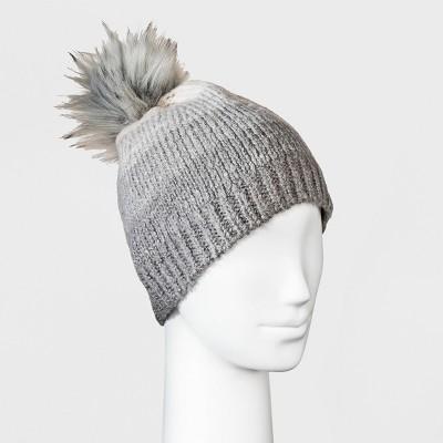 99d30c3c09d Women s Ombre Faux Fur Pom Beanie – Universal Thread™ Gray – BrickSeek