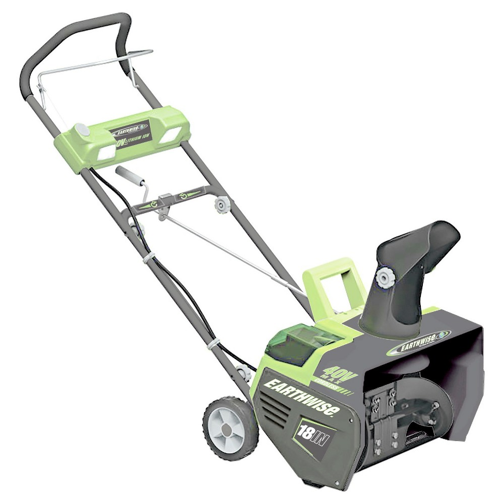 "Image of ""18"""" 40 Volts, 114 Watts Cordless Lithium Snow Thrower - Gray - Earthwise"""