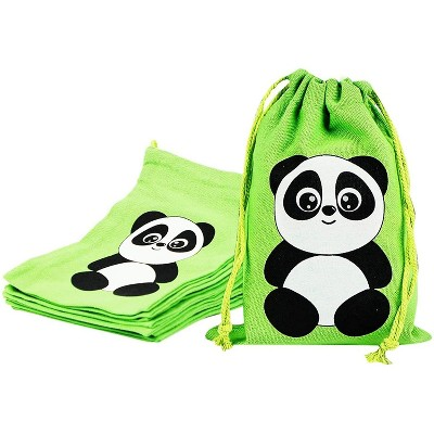 Blue Panda 12-Pack Small Cotton Panda Bear Drawstring Birthday Party Favor Gift Bags (Green, 5 x 7 in)