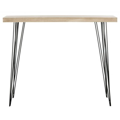 Lali Mid-Century Console Table - Light Brown & Black - Safavieh