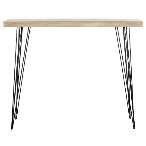 Terrific Lali Mid Century Console Table Light Brown Black Safavieh Creativecarmelina Interior Chair Design Creativecarmelinacom