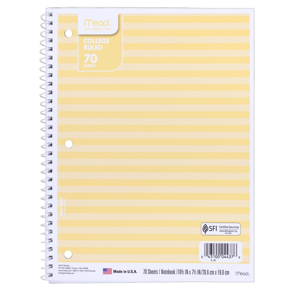Mead 70 Sheet College Ruled Paper Cover Composition Notebook - Yellow