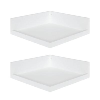 "4.5"" x 2.2"" 2pk Levie Floating Corner Wooden Wall Shelf Set White - Kate & Laurel All Things Decor"