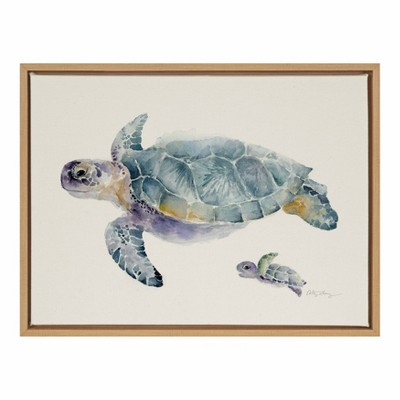 """18"""" x 24"""" Sylvie Swim Along with Me Framed Canvas Wall Art by Cathy Zhang Natural - Kate and Laurel"""