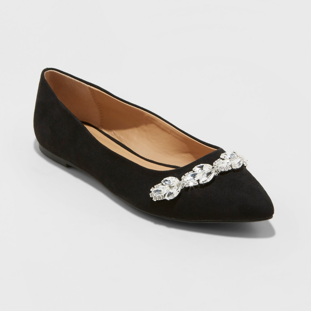 Women's Jemma Embellished Pointed Toe Ballet Flats - A New Day Black 7.5